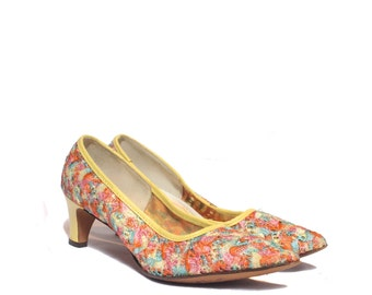7 AAAA (Narrow) | Vintage Colorful Embroidered Confetti Pumps by Joyce