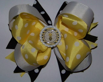 Bumble Bee Hair Bow or Headband / Yellow & Black / Pageant / Photo Shoot / Princess /  Infant / Baby / Girl / Toddler / Custom Boutique