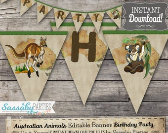 Australian Animals Party Banner - INSTANT DOWNLOAD - Editable & Printable Birthday Party Decor, Bunting, Decorations by Sassaby Parties