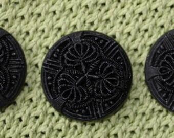 Victorian Black Glass Buttons, set of 3, 1 inch, amazing mat design