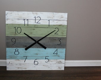 """Blues & Green Beach House Clock.  Rust Yet Modern. 26"""" by 26"""" CUSTOM Colors. Made to Order Large Wall Clock Reclaimed Pallet Wood"""