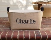 20% OFF! Personalized XL Burlap Storage Bin - stylish burlap storage basket for practical home decor