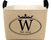20% OFF! Personalized Burlap Storage Bin with Crown Oval Monogram - chic rustic storage for your home