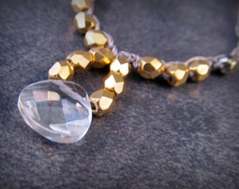 Crystal Pendant Necklace, gold, and silver tones, petite dainty Crochet Beaded Necklace