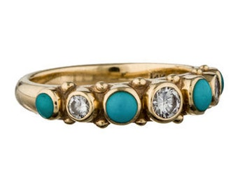 14k Turquoise Diamond and Chrysocolla Ring