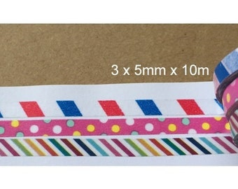3 rolls Washi Tape Set (5mm X 10M)