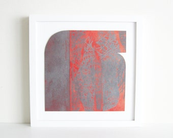 "TAKE 50% off ... Use code SALE50 @ checkout. Etching Print . Monoprint. Red + Silvery gray Home Decor: ""Form 22"".  Print Size 9.5"" x 9.5"""