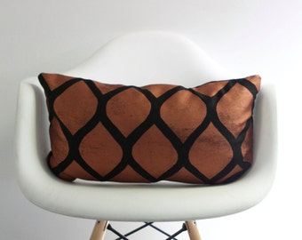 Aya 12x21 pillow cover hand printed in metallic copper on black organic hemp