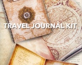 Travel Journal Kit Printable Journal DIY traveling junk journal crafting paper craft instant download digital collage sheet - VDKIVI1323