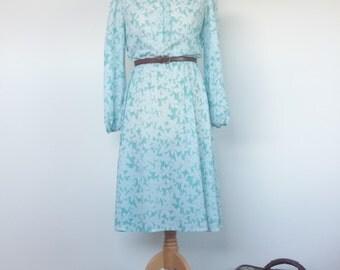 Frilly 70s Aqua Flower Day Dress UK12