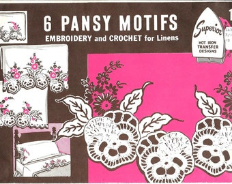 Crochet Embroidery Pattern Pansy Floral Motifs Iron On Transfer w/ Instructions 1940s Superior 117