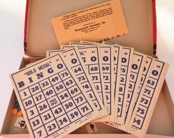 Vintage Bingo Cards Markers Numbers Game 1940 Gold Medal Transogram Ephemera Collage Supplies