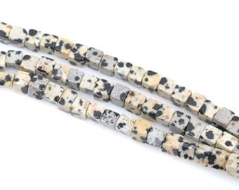 4mm DALMATIAN JASPER Cube Beads, Jasper Gemstone Beads, full strand, 94 beads per strand, gja0100