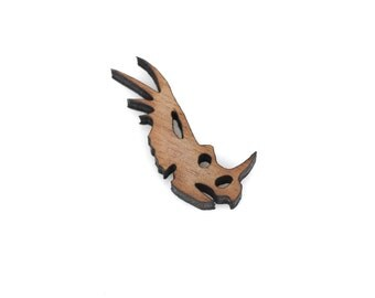 2 DINOSAUR HEAD (STYRACOSAURUS) Wood Cut Out, Laser Cut Cabochon, Laser Engraved Wood, Brooch Supplies, Sustainable Wood Supplies, lcw0079