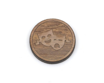 Set of 6 THEATER MASK Charms, Comedy Drama Mask, Wood Cabochons, Laser Cut Supplies, Laser Engraved Wood, Earring Gauge Plug, lcw0102