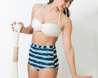 "Nautical Vintage High Waist Swimsuit - ""Carolyn"""