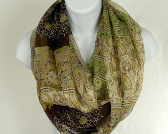 Boho Silk Infinity Scarf Gossamer Silk Chiffon Scarf in Soft Chocolate Brown, Mustard Gold, Sage and Olive Green Striped Paisley Floral