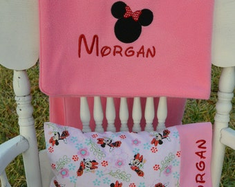 Minnie Mouse Nap Set, Small Fleece Blanket, Pillowcase and Pillow, Personalized
