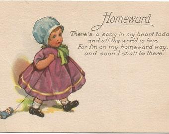 Homeward Little Girl in Bonnet pulling Doll on String Vintage Postcard
