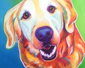 Golden Retriever, Pet Portrait, DawgArt, Dog Art, Pet Portrait Artist, Colorful Pet Portrait, Golden Retriever Art, Art Prints, Art