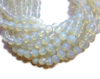 Opalite - 12mm Faceted Round Bead - Full Strand - 31 beads - Opal Glass - Moonstone Glass - Sea Opal - iridescent