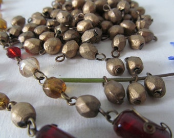 Vintage  Gold  Glass Faceted  Bead Drops