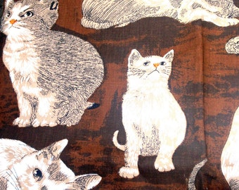 1978 Cat Upholstery Fabric // Riverdale Screenprint // Brown // Monotone colors // tabby // curtain fabric // 1970s material // thick cotton