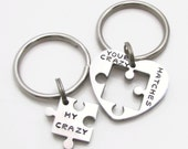 Personalized Couples Keychain Set - Your Crazy Matches My Crazy Keychain Set - Personalized Keychain - Best Friends Gift, Wedding Gift