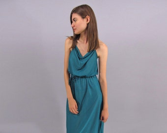Vintage 70s Disco Dress, Halter Dress, Drape Dress, Summer Dress, Boho Dress Δ size: md / lg