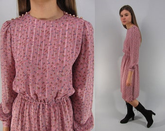 Vintage 80s Floral Boho Dress, Secretary Dress, Bohemian Dress, Dusty Pink Floral Dress Δ size: xxs / xs