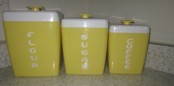 Retro counter canisters 3 vintage yellow,Flour canister, Sugar canister, Coffee canister,retro kitchen, lightweight