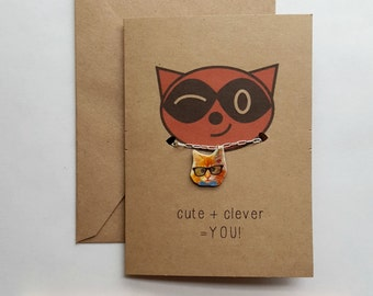 Hipster Cat Necklace | Glasses and Bowtie Cat | Nerdy Kitten | Cat Charm | Tiny Kitten Necklace | Cute Cat Pendant