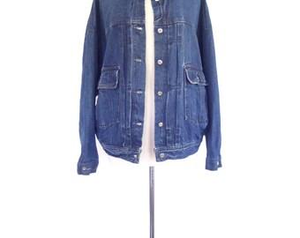 Jean Jacket. Dark Wash Denim. Vintage 90s Oversized Esprit Denim Jacket. Small