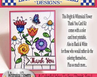 Thank You Card Kit, Laurie Furnell, Flower Digi Stamps, Flower Clip Art, Card Printable, DIY Card Kit, Papercrafts, Scrapbooking, Flower Art