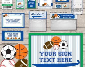 Sports Party Printables - Blue Green - Soccer, Football, Basketball & Baseball - INSTANT DOWNLOAD with EDITABLE text - personalize at home