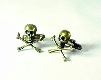 Mens Cufflinks Bronze Pirate Skull and Cross Bones, Steampunk Gothic Mens Accessory Wedding Groomsmen Handmade