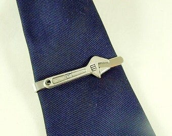 Tie Bar Tie Clip,  Mens Silver Wrench Mens Accessories Handmade