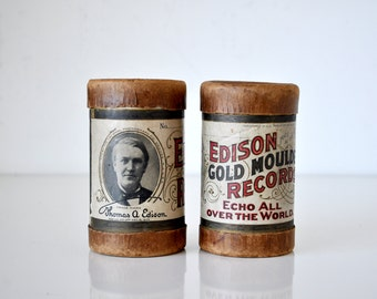 Pair Antique Edison Moulded Record Cannisters