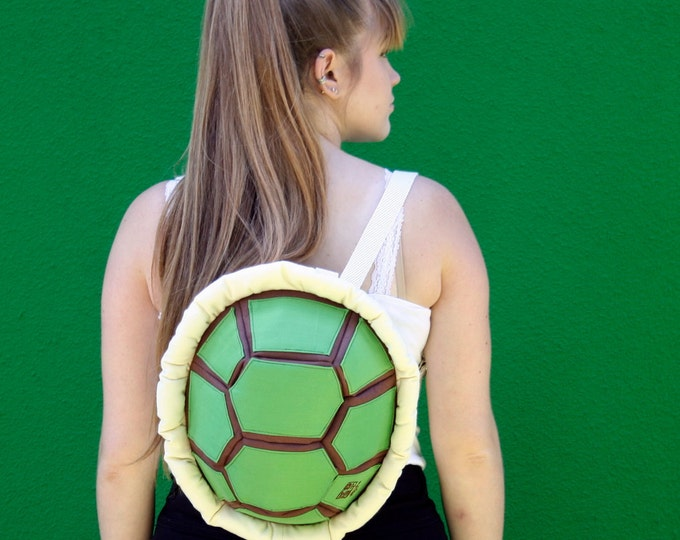 Green Turtle Backpack, Festival Bag, Funny Rucksack, Canvas Backpack for Kids and Teens
