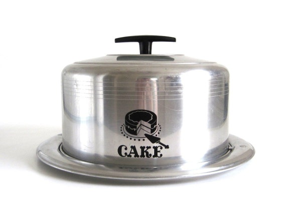 Vintage Cake Carrier Keeper Metal Cake Taker Caddy West Bend Aluminum Cottage Kitchen Decor