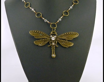 Steampunk Dragonfly Pendant on Handmade Crystal Beaded Necklace, Handmade Dragonfly Necklace, Bronze Dragonfly, Rhinestone, Dragonfly Gifts