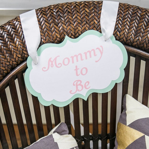 Mom To Be Mint, Pink And Gold Baby Shower Chair Sign By