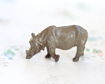 Rhinoceros - lead Animal - Antique Iron Cast Toy Figurine