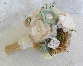 Rustic Bouquet, Woodland Bouquet, Sage Green Bridal Bouquet, Burlap & Lace Vintage Bouquet, Fabric Brooch Bouquet, Vintage Wedding Bouquet