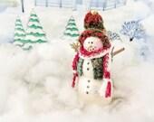 "Snowman Ornament, 4"" Christmas Snowman Winter Snowman, Christmas Ornament Handmade CharlotteStyle DecorativeFolk Art"