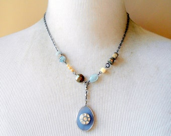 Eclectic Button Assemblage Necklace, Agate Pendant, Pyrite, Carved Rose Bone Bead, Rhinestone, Blue, Bohemian, Vintage Inspired, Aquamarine