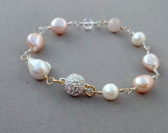 Pink Freshwater Pearl Bracelet - Swarovski Crystal Bracelet with Pink Sapphire, Freshwater Pearl and Sterling Silver with Gold Fill