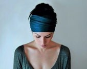 DARK TEAL BLUE Head Scarf - Bohemian Hair Wrap - Peacock Blue Headband - Jersey Activewear - Yoga Headband - Ecoshag Hair Accessories