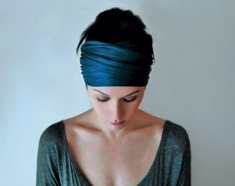 DARK TEAL BLUE Head Scarf - Bohemian Hair Wrap - Peacock Blue Headband - Jersey Activewear - Yoga Headband - Ecoshag Hair Accessories