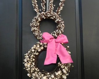 Bunny Wreath - Easter Wreath - Spring Wreath - Choose Bow Color - 3 Sizes to choose from